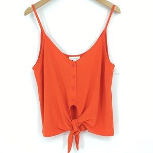 Topshop Polly Tie Front Button Up Camisole